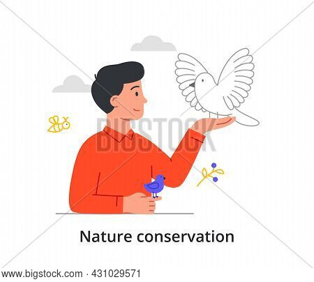 Nature Conservation Concept. Young Man Takes Care Of Birds. Improving Ecological State Of Planet. An