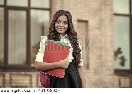 For Individual Study. Happy Child Hold Study Books Outdoors. Formal Education. Back To School Essent