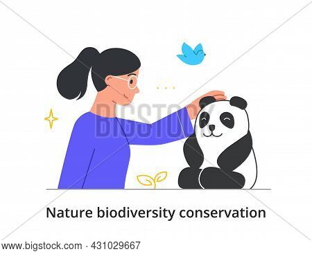 Protection Of Nature Biodiversity Concept. Happy Woman Strokes Fluffy Panda. Love For Animals And Pr