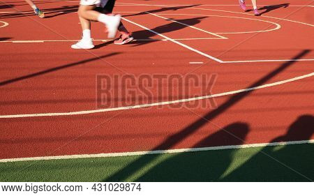 Street Basketball Championship. Playing On A Rubberized Field. Outdoor Sports Banner. Webb Banner Ab