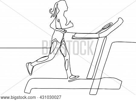 Sports Trainer Treadmill With Woman. Fitness Trainer. Vector Illustration Isolated On White Backgrou