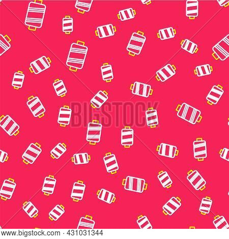 Line Sewing Thread On Spool Icon Isolated Seamless Pattern On Red Background. Yarn Spool. Thread Bob