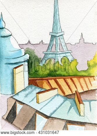Hand Painted Watercolor Paris Skyline With Roofs, Trees And Eiffel Tower