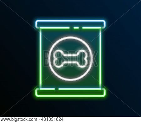 Glowing Neon Line Canned Food Icon Isolated On Black Background. Food For Animals. Pet Food Can. Dog