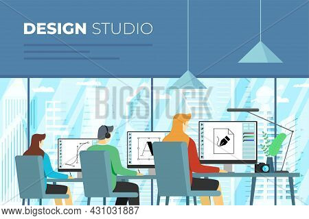 Creative Design Studio Banner. Professional Designers Work On Computers In Office Interior. Outside