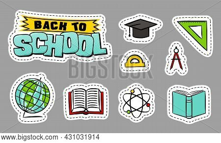 Back To School. A Set Of School Element Stickers. Educational Icons, Physics, Science, Geometry, Alg