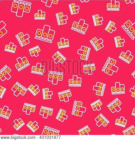 Line Ranking Star Icon Isolated Seamless Pattern On Red Background. Star Rating System. Favorite, Be