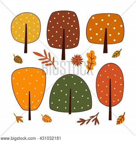 Autumn Trees Multicolor Doodle Set. Abstract Forest, Garden Plants, Falling Leaves, Bush, Foliage. C