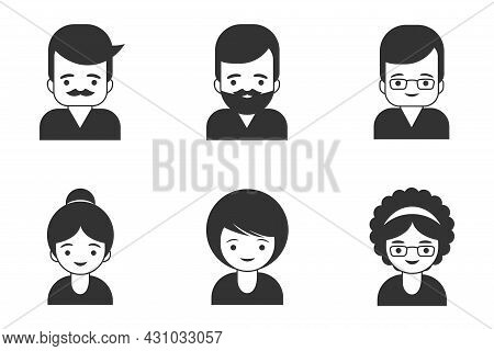 Gray Icons And Avatars Of People And Business People. Representative Men And Women Icon Isolated On