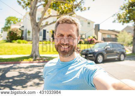 Selfie. Express Positive Emotions. Happy Man With Beard Making Selfie Photo. Male Face Portrait