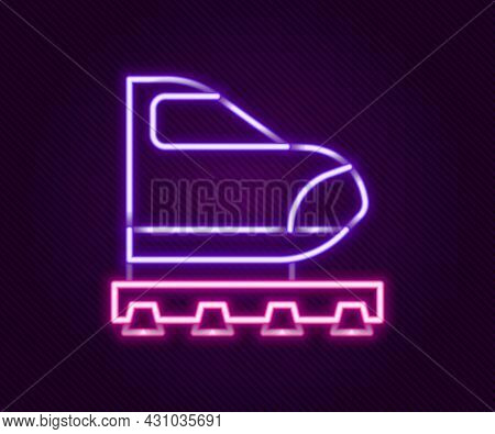 Glowing Neon Line High-speed Train Icon Isolated On Black Background. Railroad Travel And Railway To