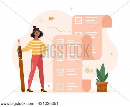 Planning And Time Management Concept. Woman With Pencil Stands Next To Large To Do List. Mark Comple