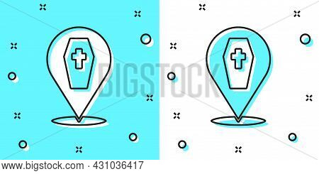 Black Line Coffin With Christian Cross Icon Isolated On Green And White Background. Happy Halloween