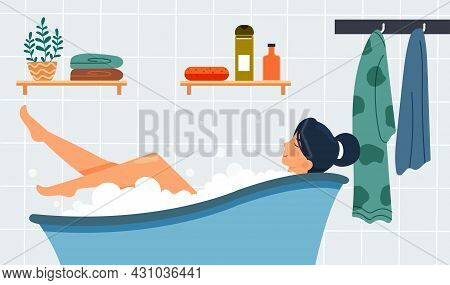 Self-care And Relax Concept. Girl Takes Hot Bath With Bubbles And Medicinal Salt. Physical And Emoti