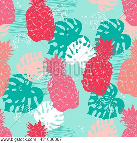 Tropical Summer Print Or Seamless Pattern With Pineapples, Vector Illustration. Summer Pineapples Fr