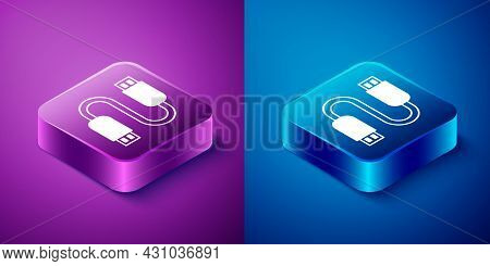 Isometric Usb Cable Cord Icon Isolated On Blue And Purple Background. Connectors And Sockets For Pc