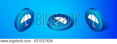 Isometric Umbrella Icon Isolated On Blue Background. Insurance Concept. Waterproof Icon. Protection,