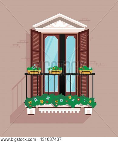 Classic Balcony With Steel Railings On A Gray Wall Flat Vector Illustration