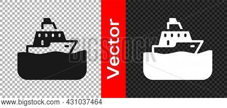 Black Cruise Ship Icon Isolated On Transparent Background. Travel Tourism Nautical Transport. Voyage