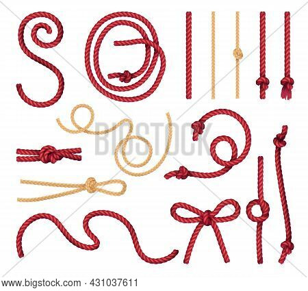 Red Natural Jute Rope Straight And Curvy Pieces With Marine Bowline Butterfly Knots Realistic Set Ve