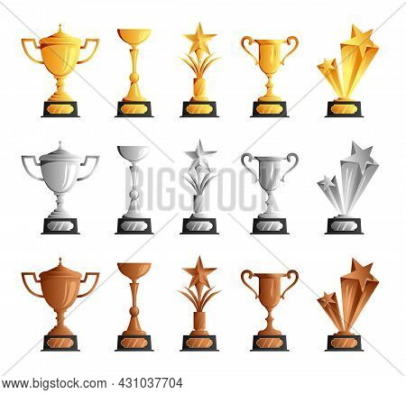 Competitions Championships Winners Prizes Awards Trophies Cups Gold Silver Bronze Realistic Set Whit