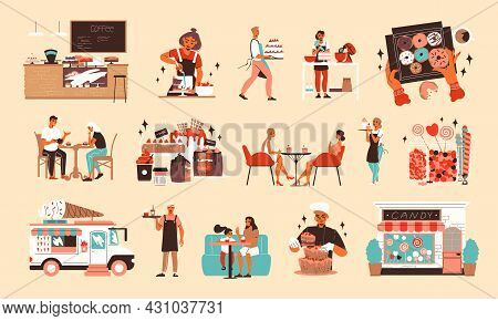 Flat Confectionery Candy Shop Set With Desserts Ice Cream Van Cafe Interior And Visitors Waiters Coo