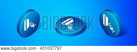 Isometric Wine Tasting, Degustation Icon Isolated On Blue Background. Wooden Barrel For Wine With Gl