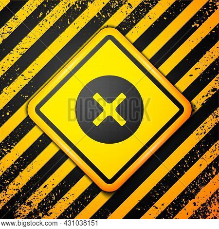 Black X Mark, Cross In Circle Icon Isolated On Yellow Background. Check Cross Mark Icon. Warning Sig