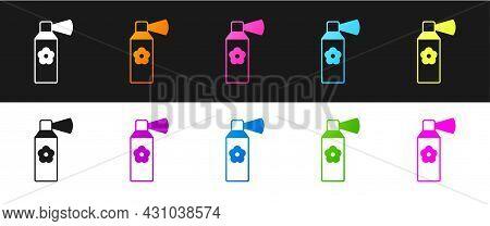 Set Air Freshener Spray Bottle Icon Isolated On Black And White Background. Air Freshener Aerosol Bo