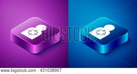 Isometric Human Target Sport For Shooting Icon Isolated On Blue And Purple Background. Clean Target