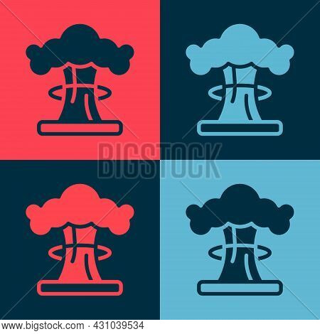 Pop Art Nuclear Explosion Icon Isolated On Color Background. Atomic Bomb. Symbol Of Nuclear War, End