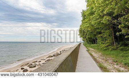 Footpath Along The Coast Of The Baltic Sea At Cape Rozewie In Poland