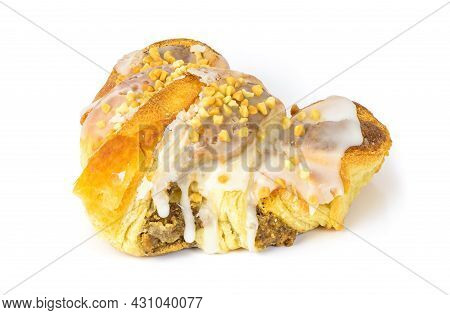 St. Martin's Croissant Traditionally Prepared In Poznan Isolated On White Background With Clipping P