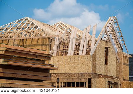 Rafters From The Wall Of A House Under Construction