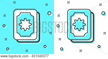 Black Line Tarot Cards Icon Isolated On Green And White Background. Magic Occult Set Of Tarot Cards.