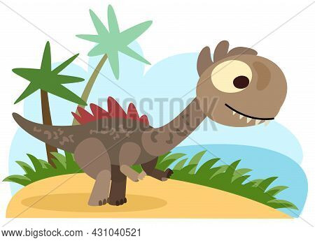 Baby Dinosaur. The Isolated Object On A White Background. Cheerful Kind Animal Baby Dino. Cartoons F