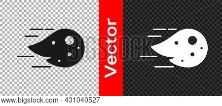 Black Fireball Icon Isolated On Transparent Background. Vector