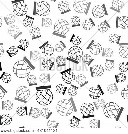 Black Montreal Biosphere Icon Isolated Seamless Pattern On White Background. Vector