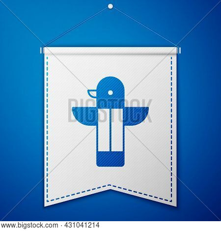 Blue Canadian Totem Pole Icon Isolated On Blue Background. White Pennant Template. Vector