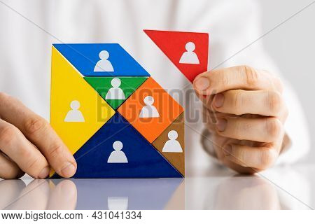 Hr Manager Recruiting Talent. Human Recruitment Puzzle