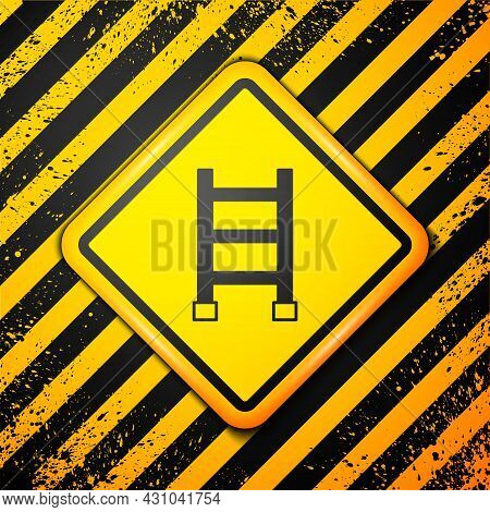 Black Fire Escape Icon Isolated On Yellow Background. Pompier Ladder. Fireman Scaling Ladder With A