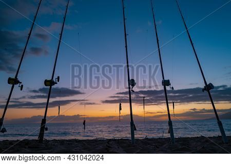 Fishing Rod Spinning. Fishing Rods In Rod Due The Fishery Day At The Sunset On Sea. Rod Rings. Fishi