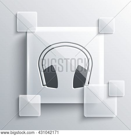 Grey Noise Canceling Headphones Icon Isolated On Grey Background. Headphones For Ear Protection From
