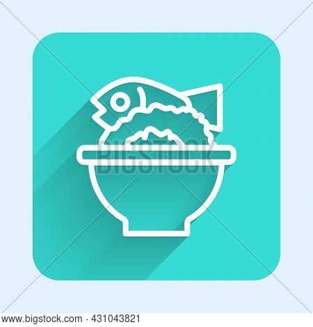 White Line Served Fish On A Bowl Icon Isolated With Long Shadow. Green Square Button. Vector