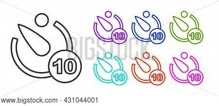 Black Line Camera Timer Icon Isolated On White Background. Photo Exposure. Stopwatch Timer 10 Second