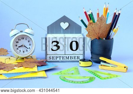 Calendar For September 30: The Name Of The Month Of September In English, Cubes With The Number 30,