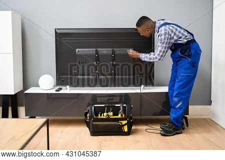 Fixing Lcd Television. Tv Checking And Installation