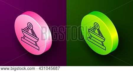 Isometric Line Boat Swing Icon Isolated On Purple And Green Background. Childrens Entertainment Play