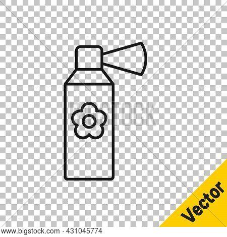 Black Line Air Freshener Spray Bottle Icon Isolated On Transparent Background. Air Freshener Aerosol
