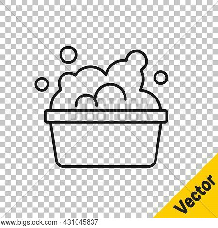 Black Line Plastic Basin With Soap Suds Icon Isolated On Transparent Background. Bowl With Water. Wa